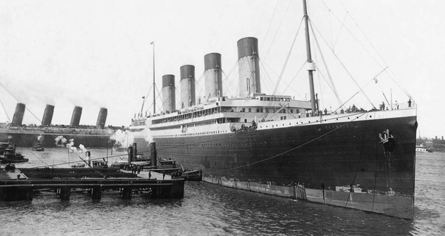 RMS Olympic at its port in Southampton