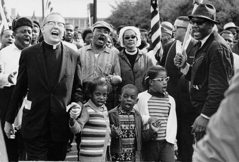 Martin Luther King Marching In Selma