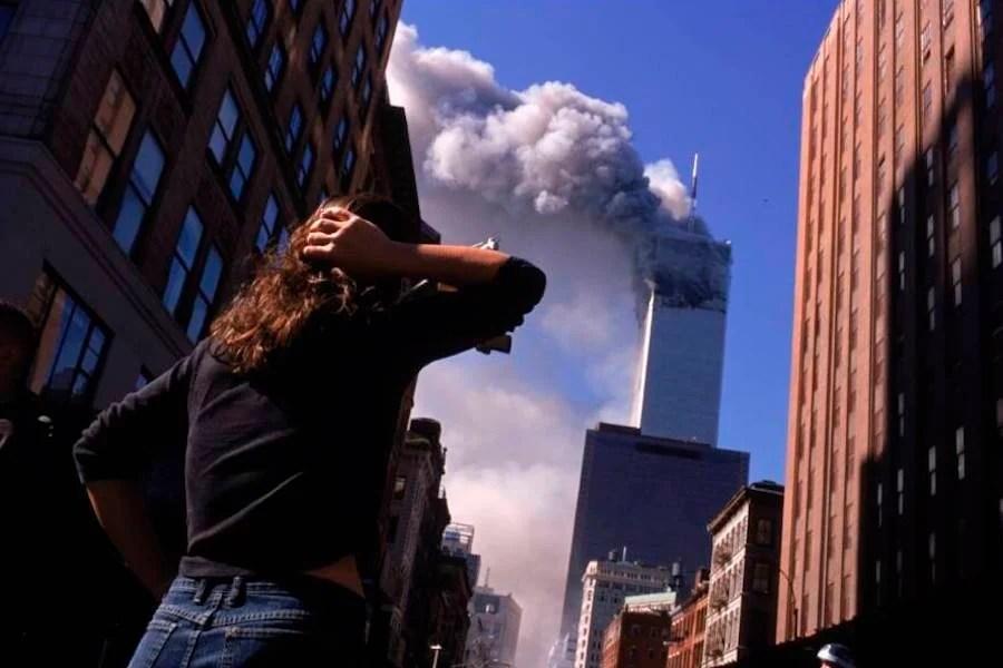 Woman Watching Twin Towers Burn