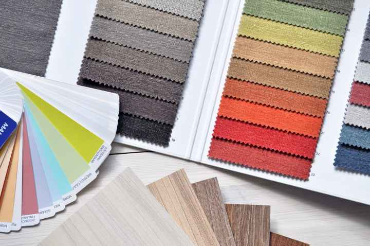 When designing a space you love, request free samples of textiles pictured here, like carpet, flooring and paint chips.