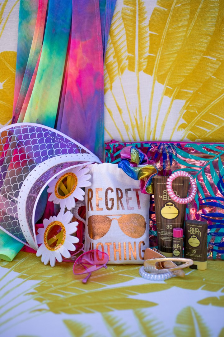 Twenty Fifth Birthday Bash Rainbow Beach Bag with Sun Bum Sunscreen, Chapstick, Hair Ties, Scrunchies, Sunglasses, Visor, Hair Clips, and Hangover Kit