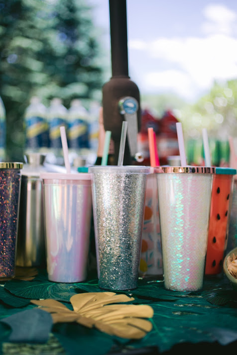 Reusable Plastic Drink Tumblers in Assorted Colors like Glitter, Watermelon Pattern and Pink Iridescent Colors