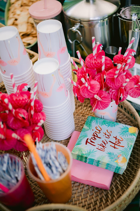 Self-Serve Bar Essentials on Rattan Tray. Includes Pink Flamingo Drink Straws, Tropical Cocktail Napkins, Sugar Packets, and Disposable Paper Flamingo Cups