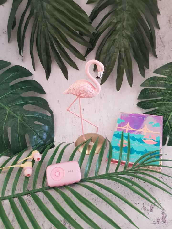 My Event Deck includes flamingo stakes, pictured here, and pink accents with palm leaves