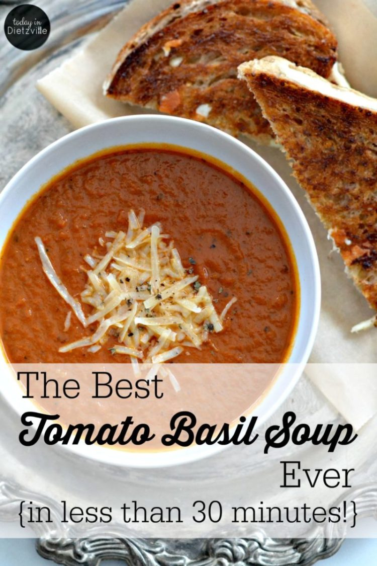 The Best Tomato Basil Soup Ever | With healing bone broth, heavy cream, and fresh basil, this is THE best tomato basil soup ever! And you can make this simple soup in less than 30 minutes. | AllTheNourishingThings.com
