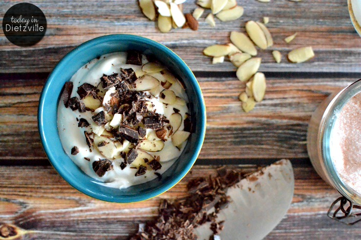 DIY Chobani Flip: Coconut Yogurt With Almonds & Chocolate Chunks {THM:S | Sugar-Free} | This sugar-free and additive-free DIY Chobani Flip doppelganger gives you all the taste of the packaged version, and works for low-carb lifestyles or Trim Healthy Mama! | AllTheNourishingThings.com