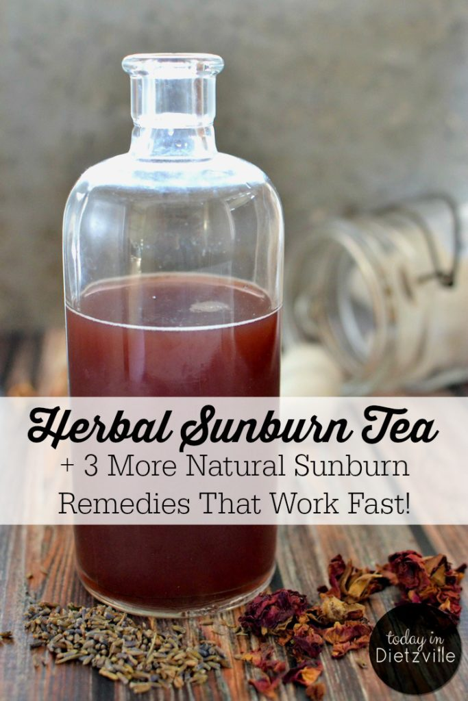 Herbal Sunburn Tea | This Herbal Sunburn Tea works quickly to relieve the pain and heat of a sunburn. Although my son had a really bad sunburn, he never peeled or itched! His skin healed completely, and he never complained of pain or stiffness in his skin! And there are 3 more natural sunburn remedies that work fast! | AllTheNourishingThings.com