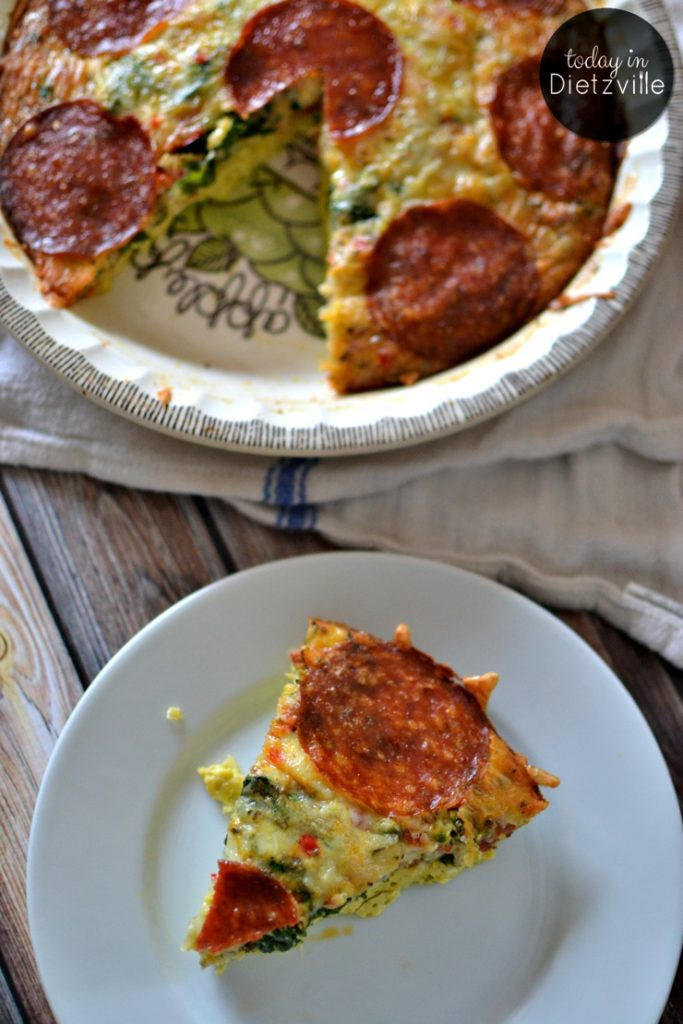 Pepperoni Pizza Crust-less Quiche... Because who doesn't love pepperoni, mozzarella cheese, and Italian seasonings? It's grain-free, gluten-free, and nut-free...leave the cheese out for dairy-free. This quiche is super stuffed full of veggies, but because of the awesome pizza flavors, the pickiest of eaters won't mind!