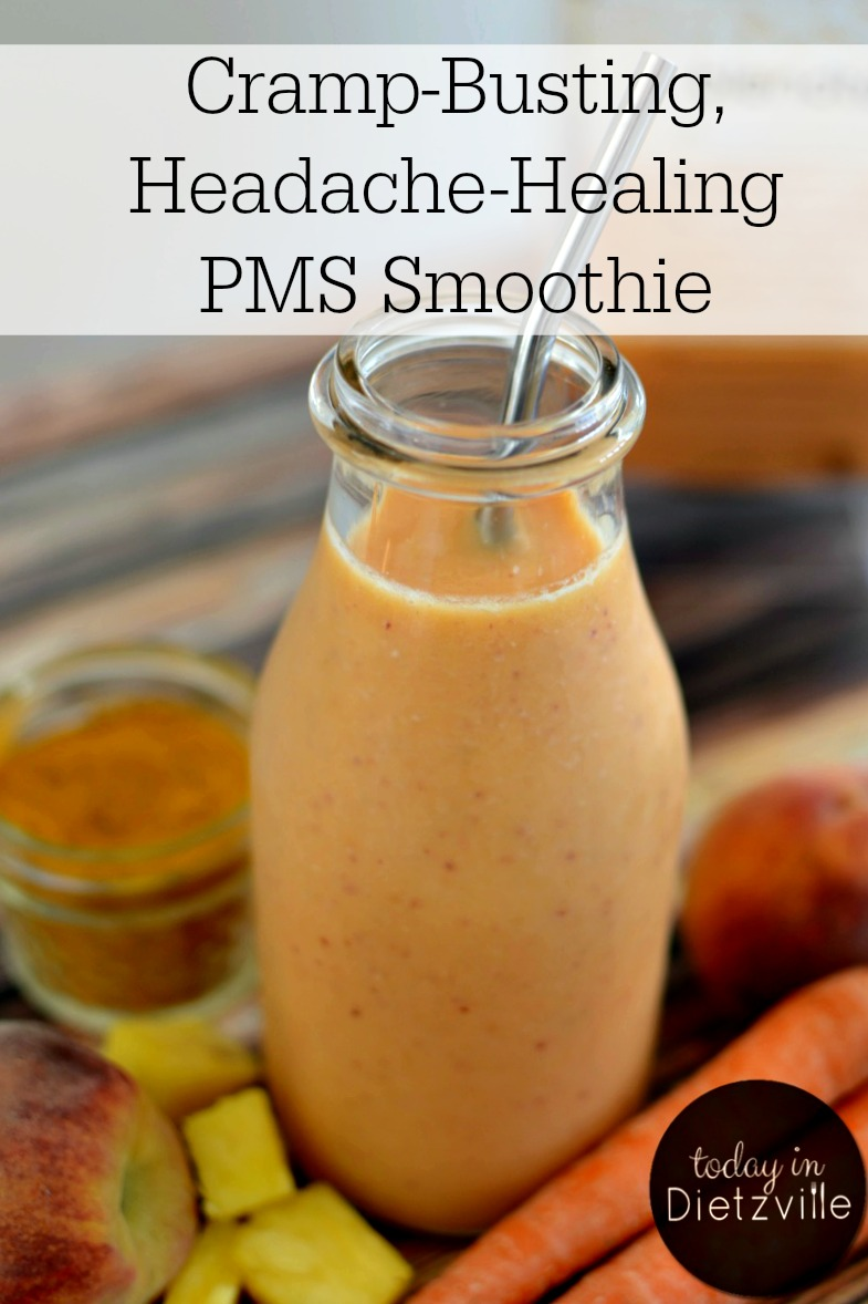 Cramp-Busting, Headache-Healing PMS Smoothie | This is exactly what it means to use food as medicine! With anti-inflammatory and pain-relieving enzymes, hormone balancing ingredients, and more, this PMS smoothie is perfect before and during your period to relieve uncomfortable symptoms and bring back your energy! | AllTheNourishingThings.com