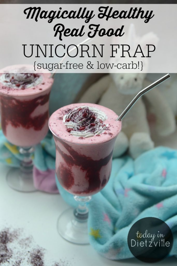 Magically Healthy Real Food Unicorn Frap {Sugar-Free & Low-Carb!} | The Unicorn Frappuccino from Starbucks has a whopping 59 grams of sugar. Skip that (and the other junk) and go for a homemade Real Food Unicorn Frap instead! This version is low-carb and sugar-free, but just as magical! | AllTheNourishingThings.com