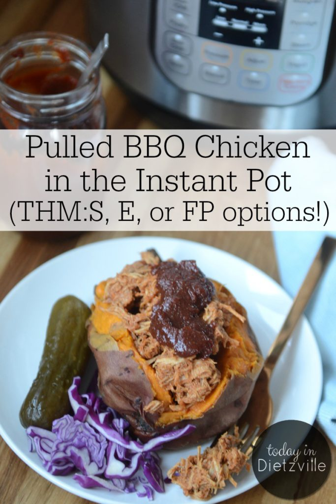 Pulled BBQ Chicken In The Instant Pot (THM:S, E, or FP options!) | Unlike Texas BBQ, this has no added sugar -- so it's low-carb and friendly on your blood sugar. For Trim Healthy Mamas, this main dish can be used in any fuel setting depending on what you pair it with! Enjoy this Southern favorite of ours made super easy, tender, and juicy in your Instant Pot! | AllTheNourishingThings.com