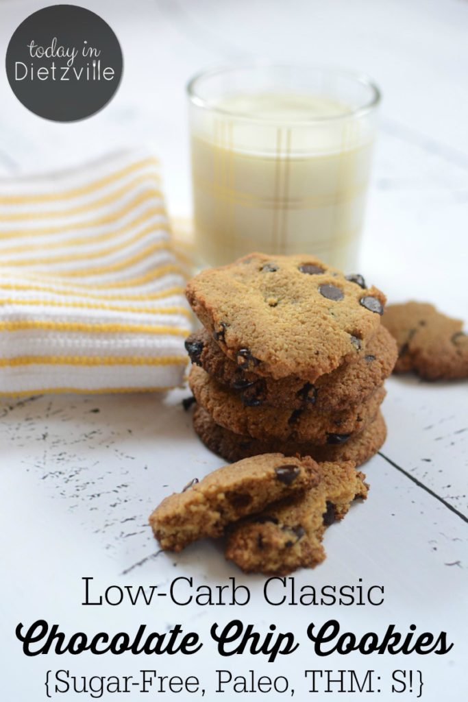Low-Carb Classic Chocolate Chip Cookies {Sugar-Free, Paleo, THM:S!} | These low-carb classic chocolate chip cookies are Paleo- & Trim Healthy Mama-friendly, They're sugar-free and will keep your blood sugar happy and stable. So if it's been a while since you've dipped a classic chocolate chip cookie in milk, this easy recipe is gonna make your day! | AllTheNourishingThings.com