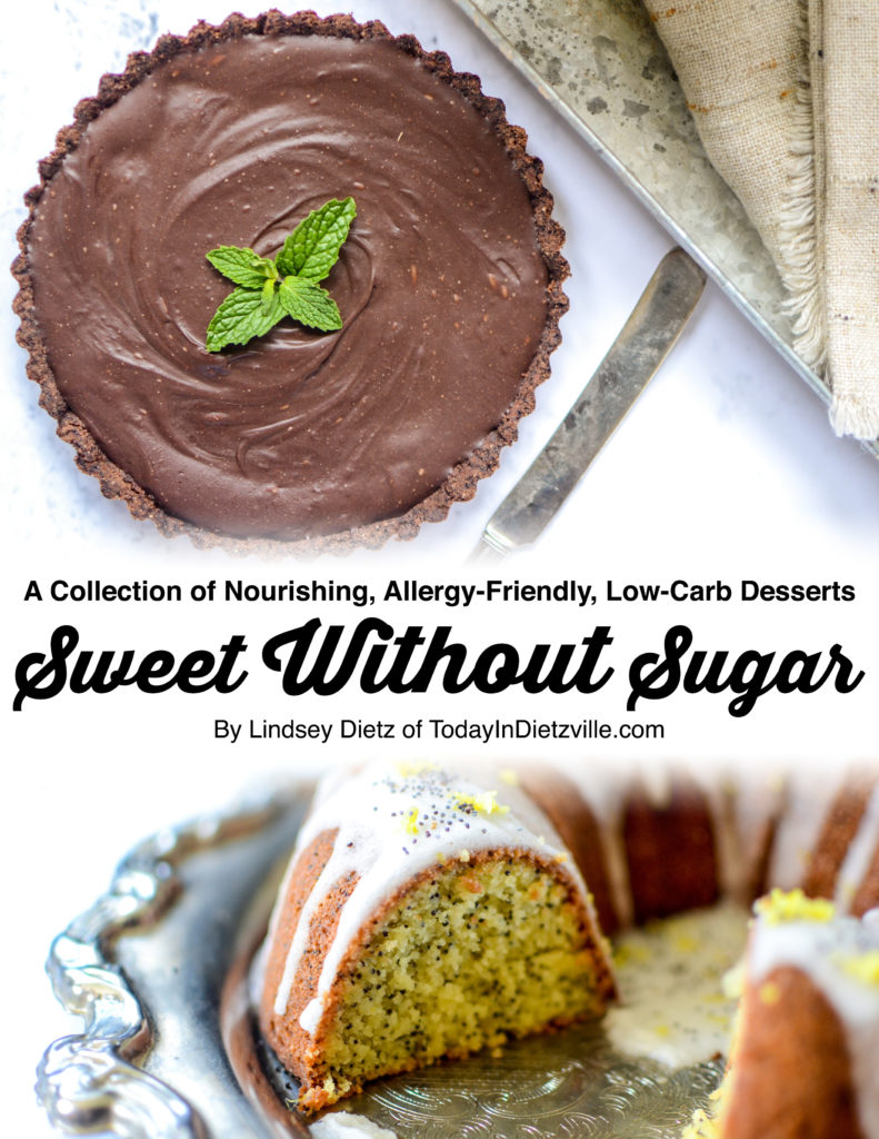 Sweet Without Sugar: A Collection Of Nourishing, Allergy-Friendly, Low-Carb Desserts | I am excited to bring you the dessert cookbook that proves you can literally have your cake and eat it too! Because NOTHING tastes as good as stable blood sugar feels! Full of nourishing, allergy-friendly, low-carb desserts, Sweet Without Sugar is full of recipes everyone will LOVE -- even if you're healing your gut, even if you're diabetic, even if you're trying to lose weight! | AllTheNourishingThings.com