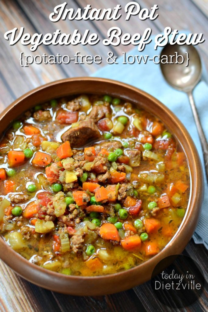 Instant Pot Vegetable Beef Stew {potato-free & low-carb} | Full of nourishing broth, colorful cooked veggies, and pastured meat, this is one nutrient-dense, healing stew! And perhaps best of all? Without potatoes, it's much friendlier to your blood sugar than traditional beef stew. | AllTheNourishingThings.com