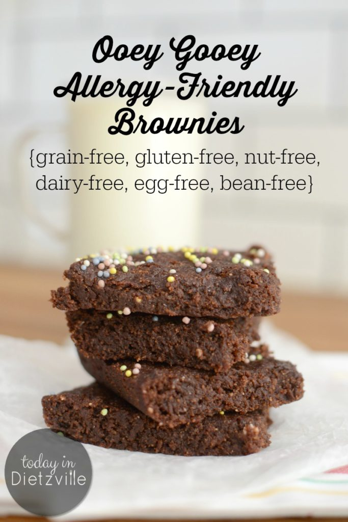 Ooey Gooey Allergy-Friendly Brownies | Do you live grain-free, gluten-free, egg-free, dairy-free, and nut-free? Is it severely throwing off your dessert game? These vegan Ooey Gooey Allergy-Friendly Brownies are everything-free, including bean-free, but still moist, fudgy, and nourishing! | AllTheNourishingThings.com