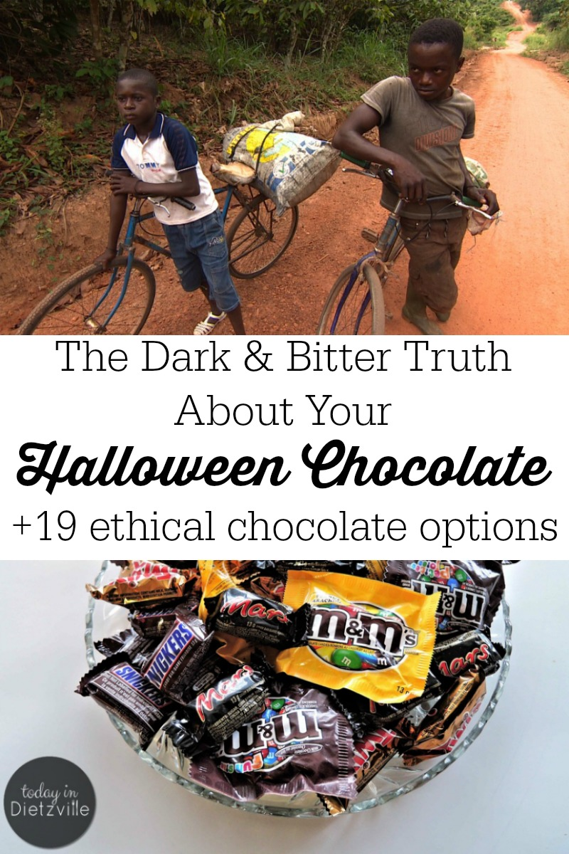 The Dark & Bitter Truth About Your Halloween Chocolate   Are you buying chocolate for Halloween? You may change your mind after you discover the dark and bitter truth about your Halloween chocolate. As consumers, we make the most important, ethical, and sustainable choices with our dollars. If you choose to have an ethical Halloween, here are 19 Fair Trade chocolate options, too!   AllTheNourishingThings.com
