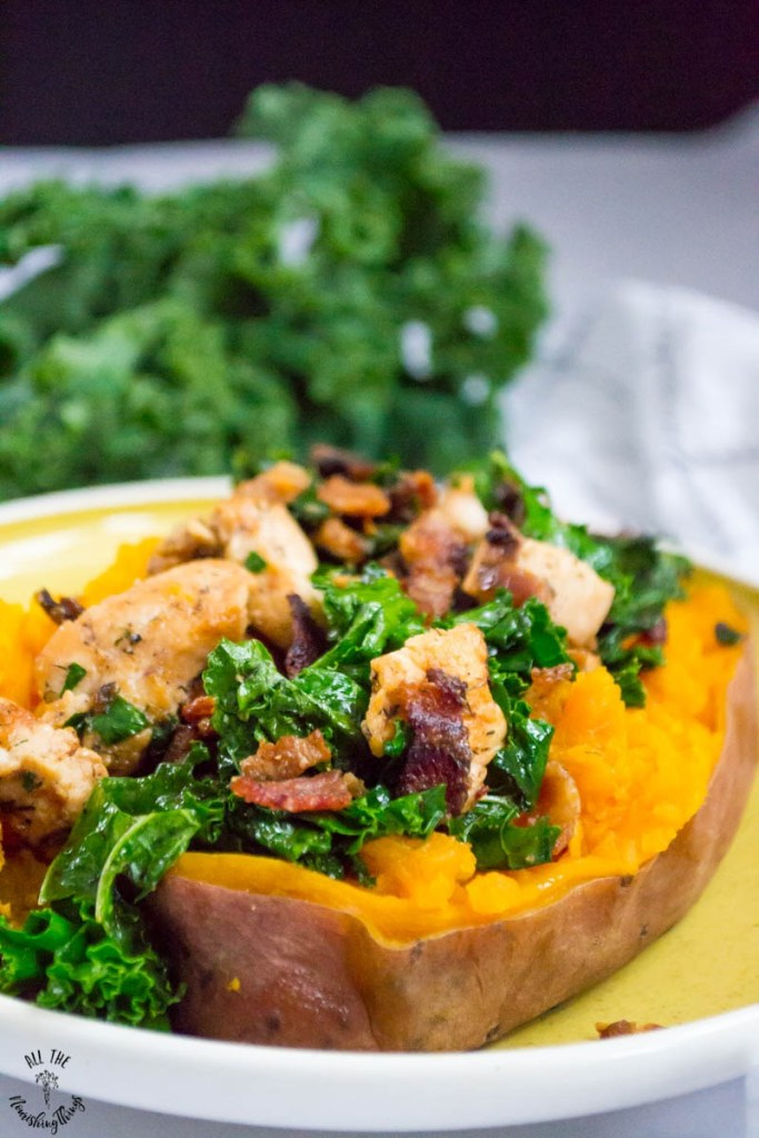 Chicken, Bacon, & Kale Stuffed Sweet Potatoes (Whole30, paleo, AIP)