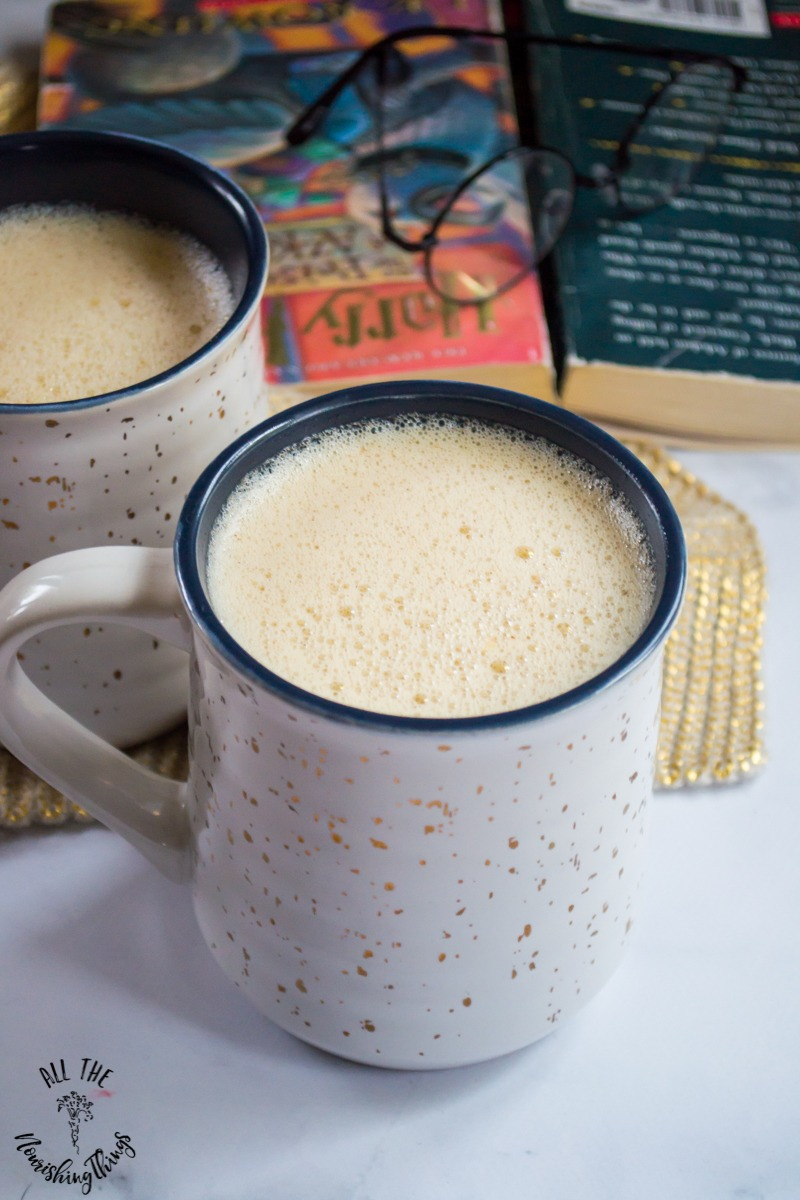 nourishing non-alcoholic harry potter butter beer in white mug