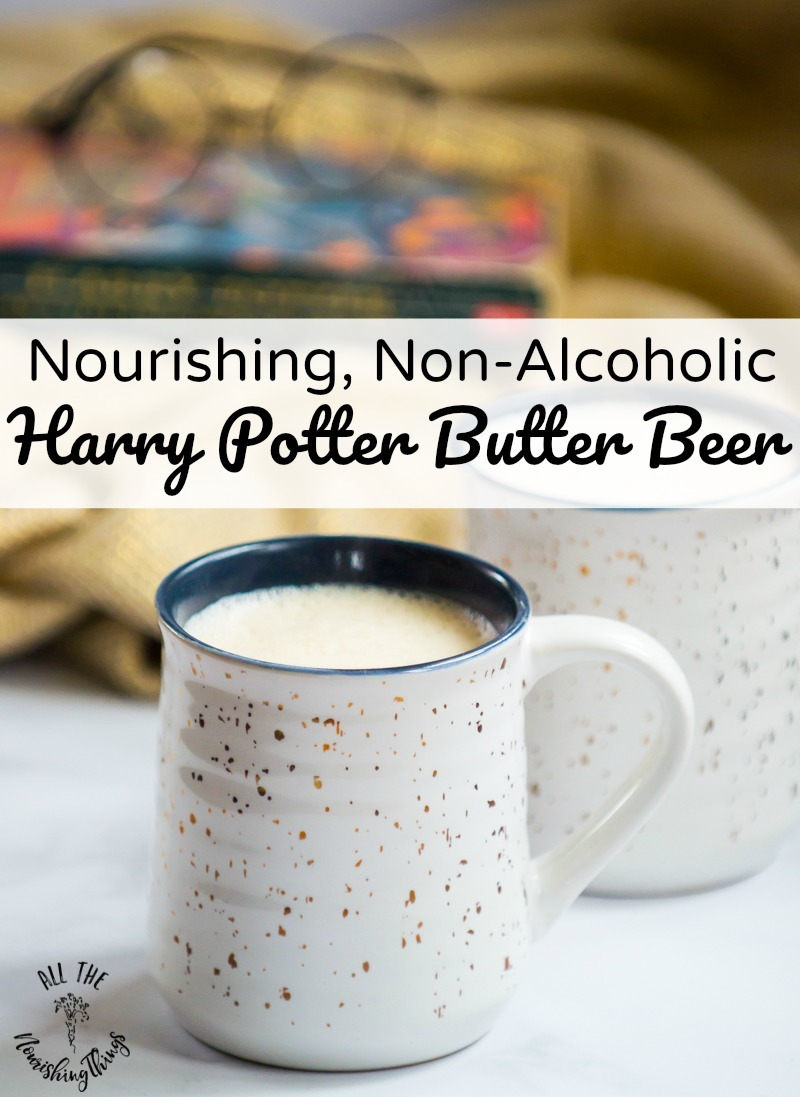 nourishing harry potter butter beer with text overlay