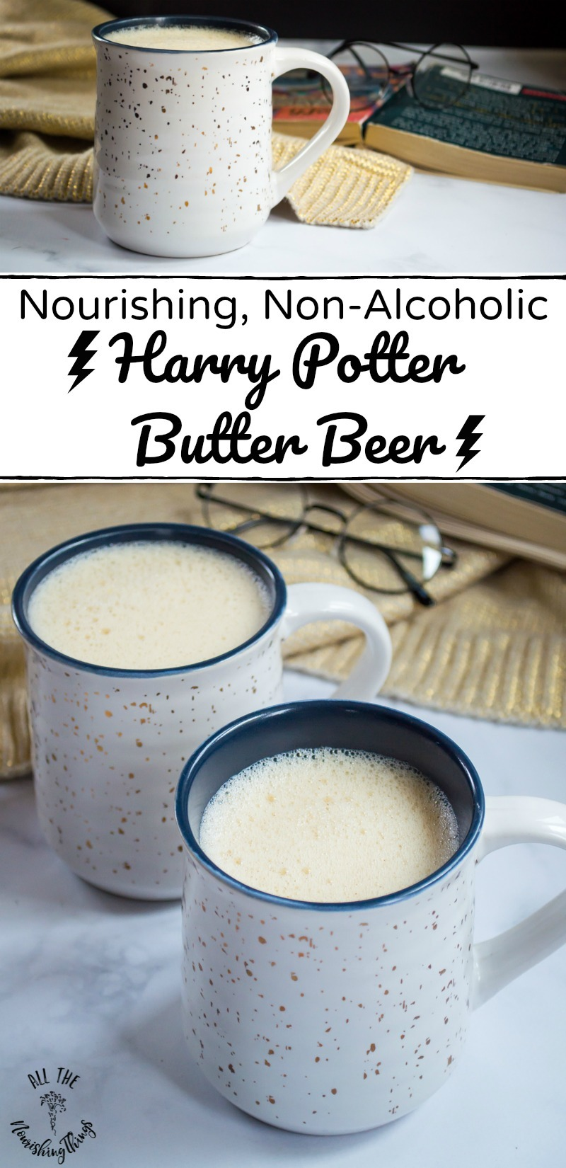 2 white mugs of nourishing harry potter butter beer with text overlay