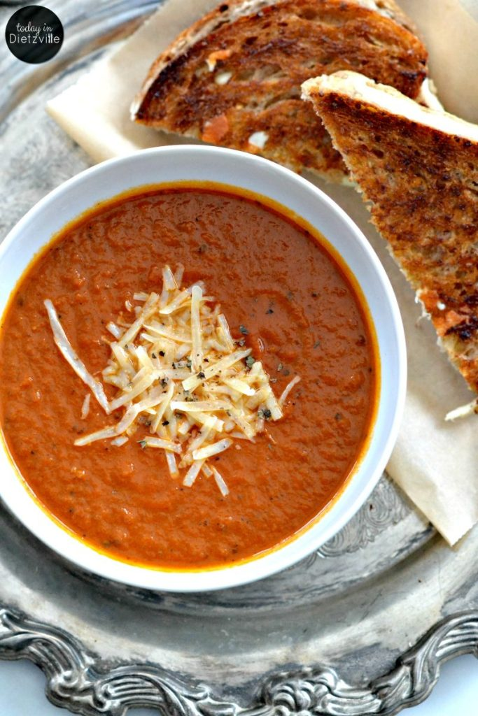 The Best Tomato Basil Soup Ever {in less than 30 minutes!}