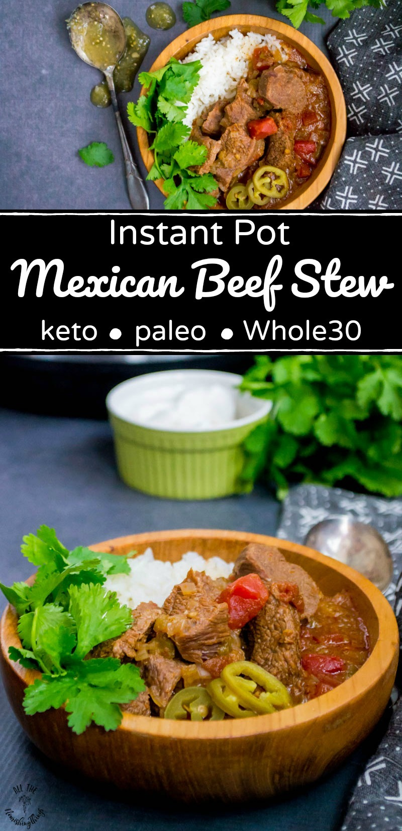 collage of 2 images of keto, paleo, whole30 instant pot mexican beef stew with text overlay
