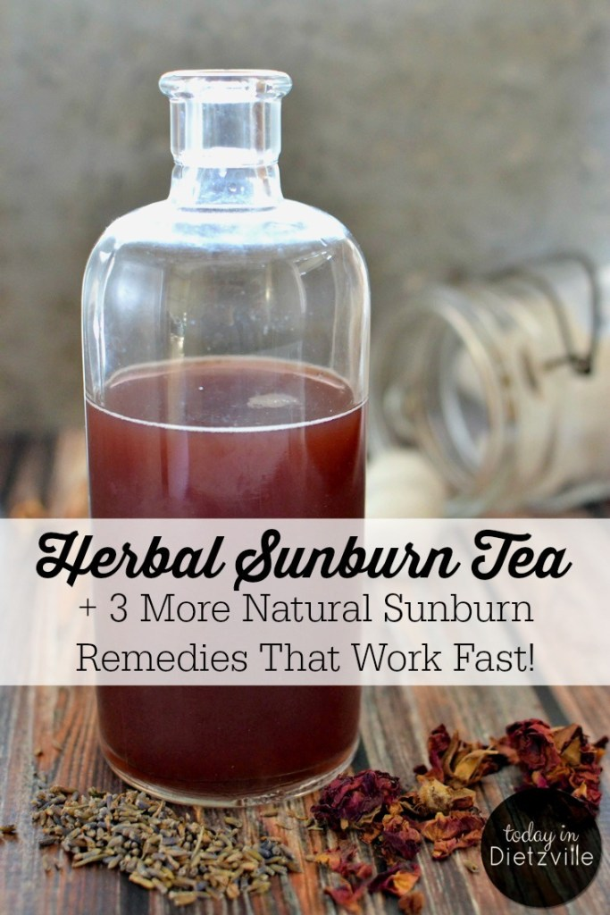 glass bottle of herbal sunburn tea with text overlay