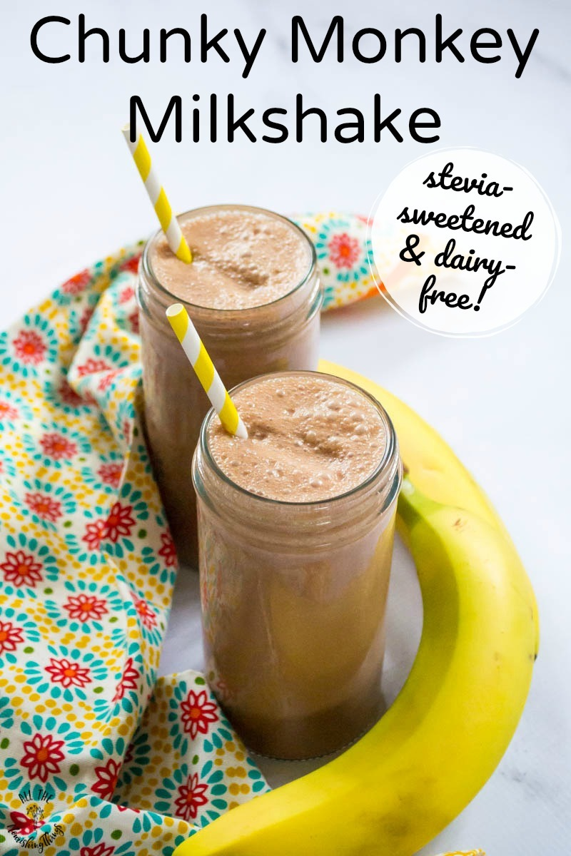 chocolate peanut butter banana milkshakes with yellow straws and text overlay