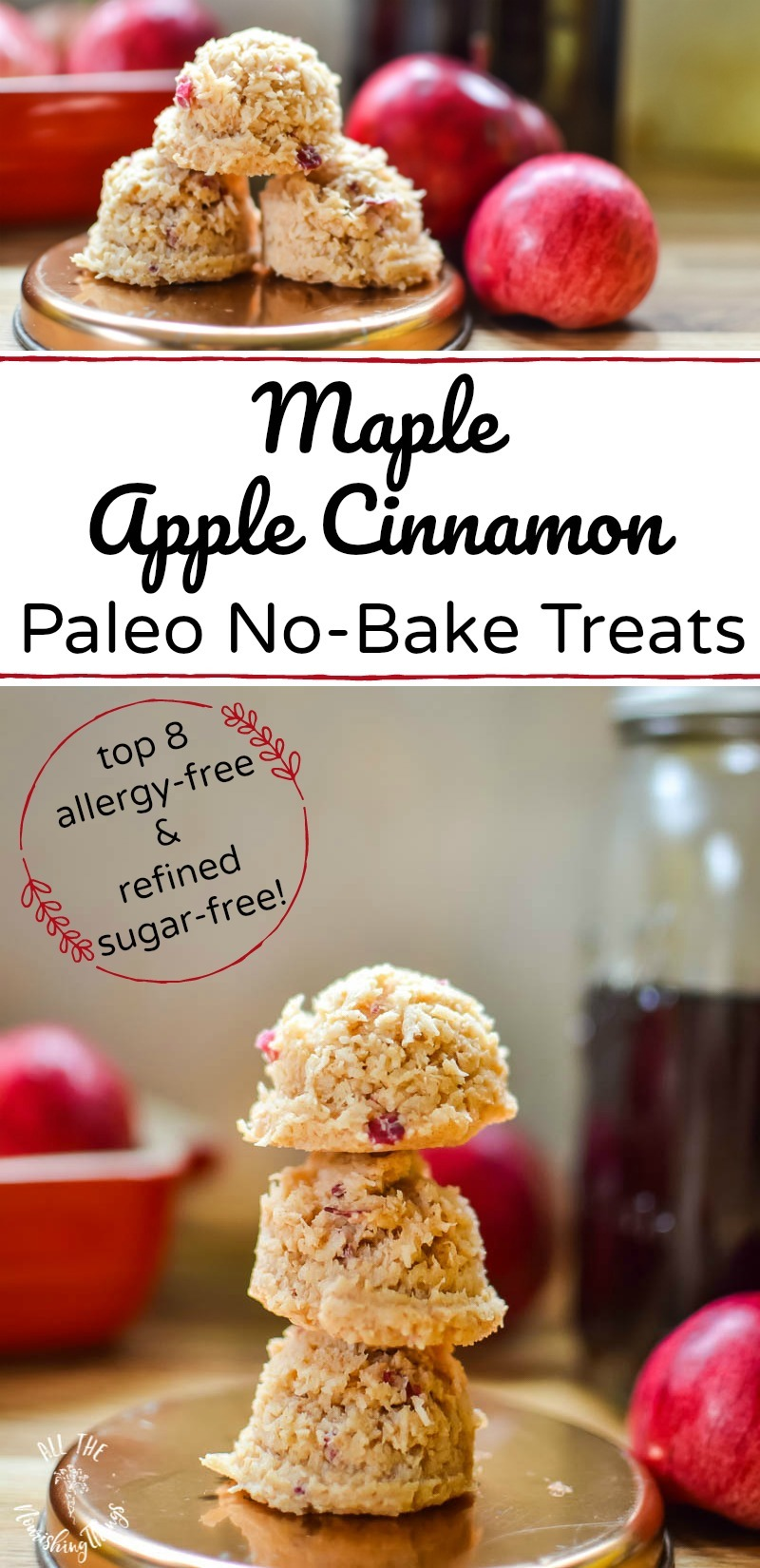 paleo maple apple cinnamon no-bake treats with text overlay