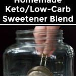 collage of images of homemade keto sweetener with text overlay
