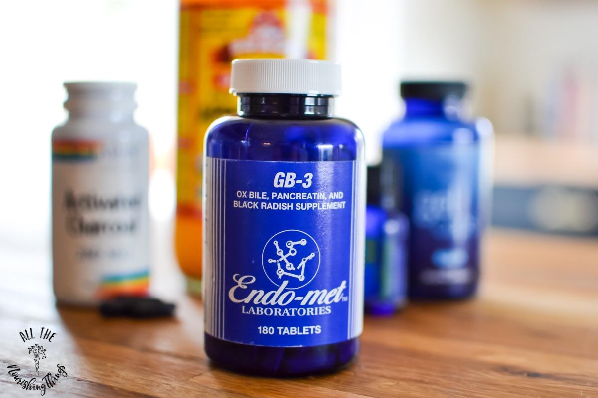 bottle of GB3 digestive enzymes