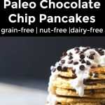 collage of 2 images of paleo chocolate chip pancakes