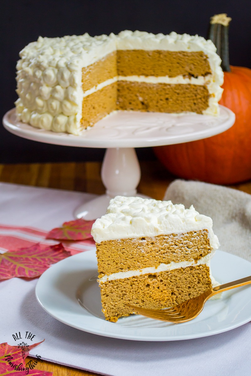 grain-free pumpkin spice cake on cakestand