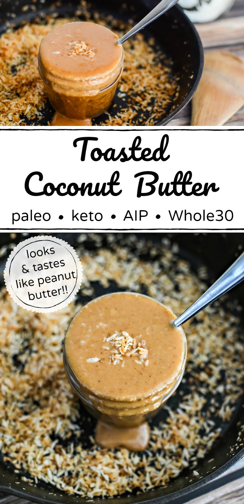 toasted coconut butter in cast iron skillet with text overlay