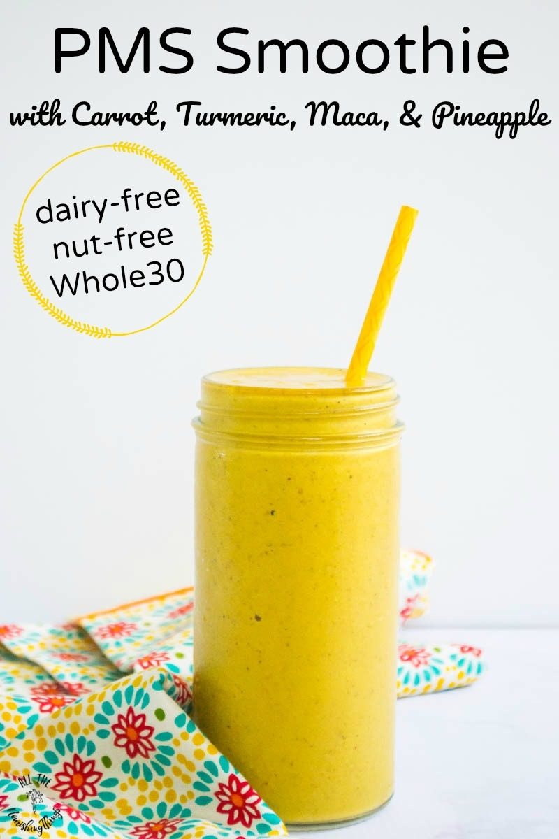 anti-inflammatory yellow PMS smoothie with carrot and turmeric with text overlay