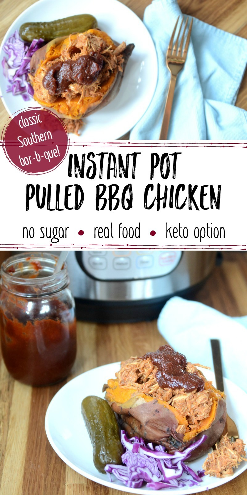 bbq chicken instant pot blue napkin