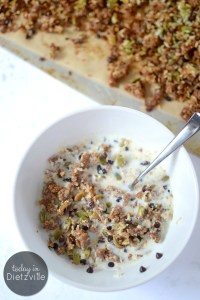 No-Bake Chocolate-Orange Quinoa Granola | Even with all its convenience, I can't bring myself to buy an expensive box of cereal that's full of processed grains and tons of sugar. So what's a girl to do when she's jonesing for a bowl of cereal? Make this! This easy No-Bake Chocolate-Orange Quinoa Granola is nut-free, oat-free, sugar-free, soaked to reduce phytates, and won't heat up your house! | AllTheNourishingThings.com