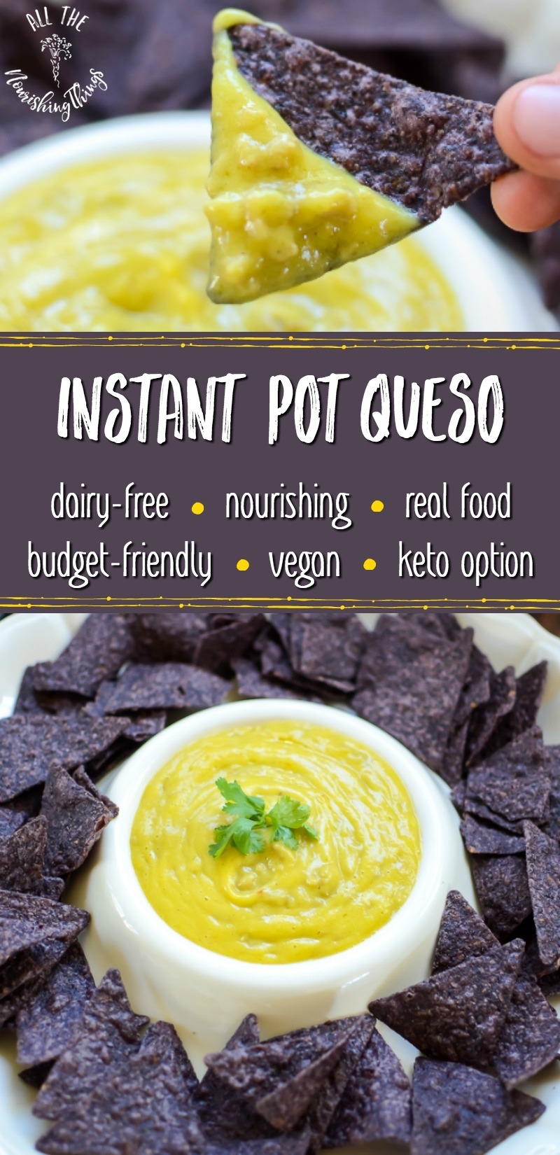 blue corn chips with yellow cheese dip and text overlay