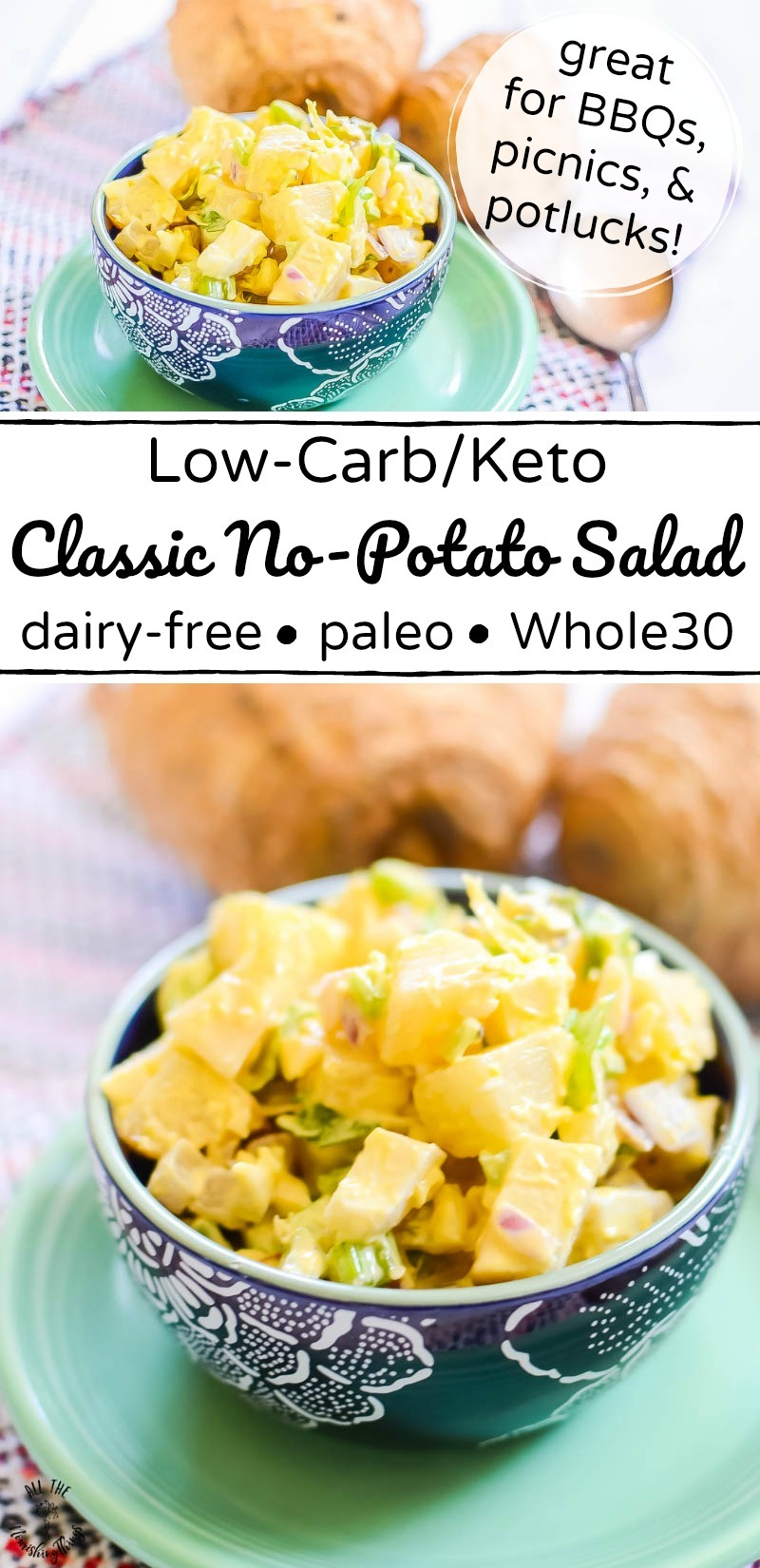 collage of 2 images of classic keto no-potato salad with text overlay between the images