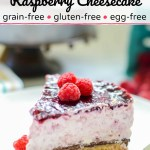slice of keto no-bake raspberry cheesecake on white plate with text overlay