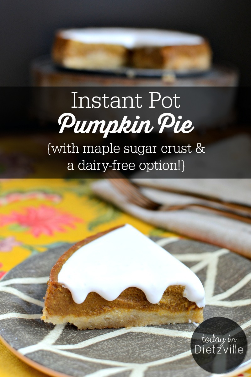 slice of paleo instant pot pumpkin pie with white creamy topping
