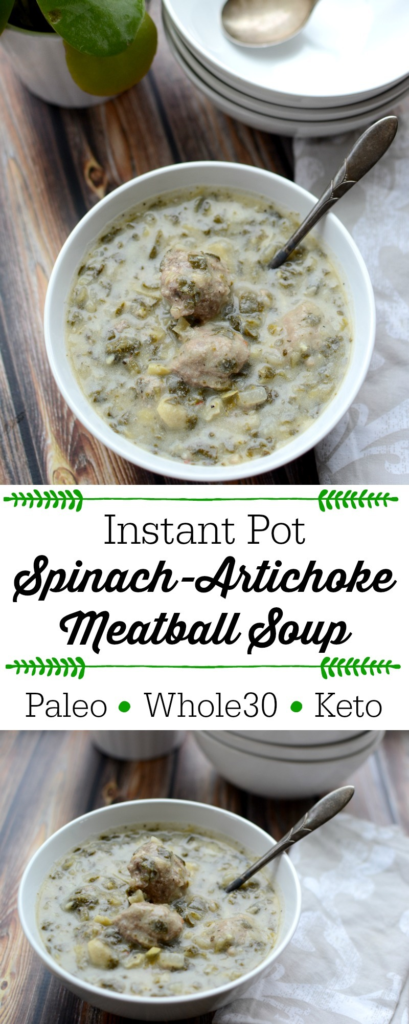 instant pot spinach artichoke meatball soup in white bowl with spoon