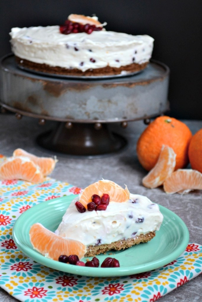 Probiotic Pomegranate & Clementine Cheesecake {no-bake, easy, keto option!}