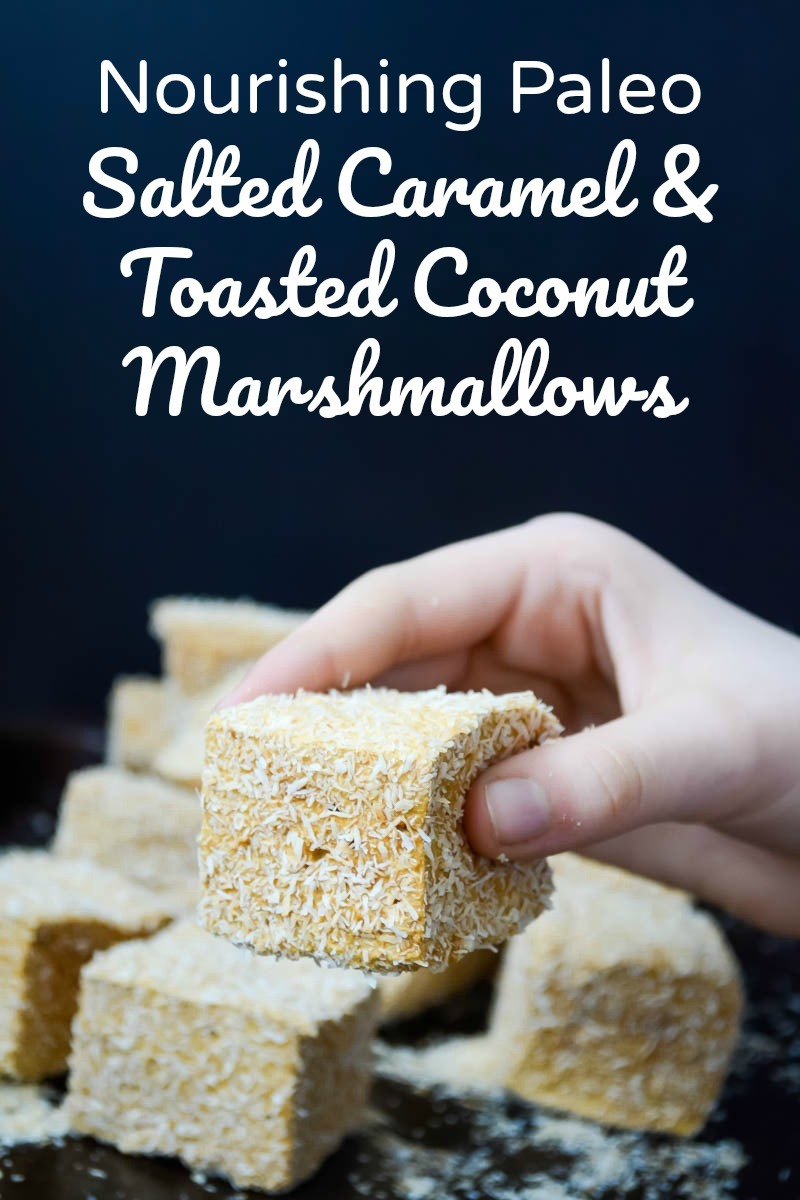 hand holding paleo salted caramel and toasted coconut marshmallow with text overlay