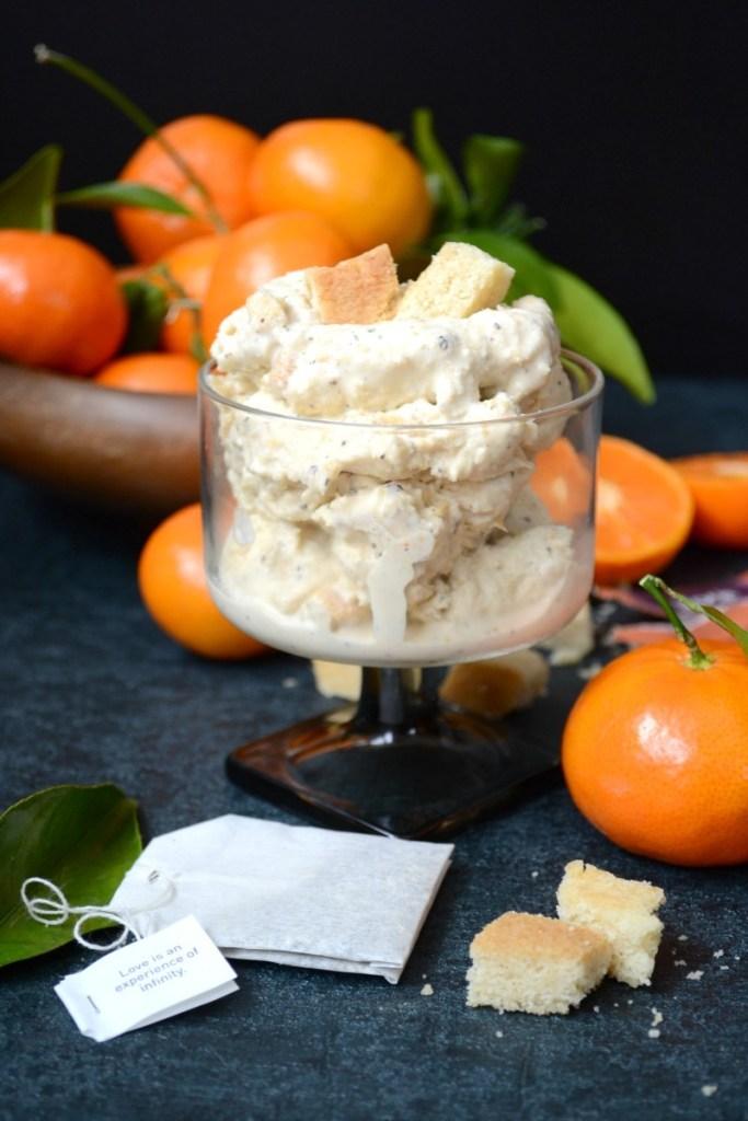 Dairy-Free Black Tea & Mandarin Ice Cream With Shortbread Chunks {with a keto option!}