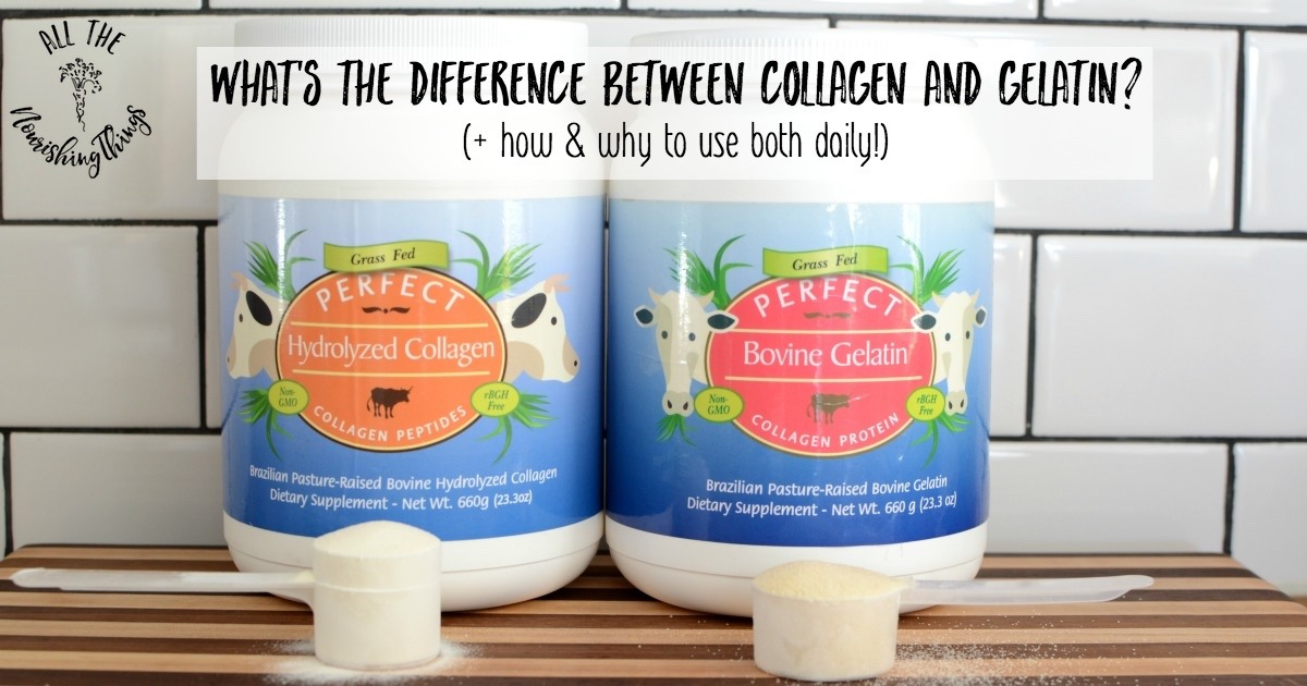 canisters of collagen and gelatin on cutting board with subway tile background