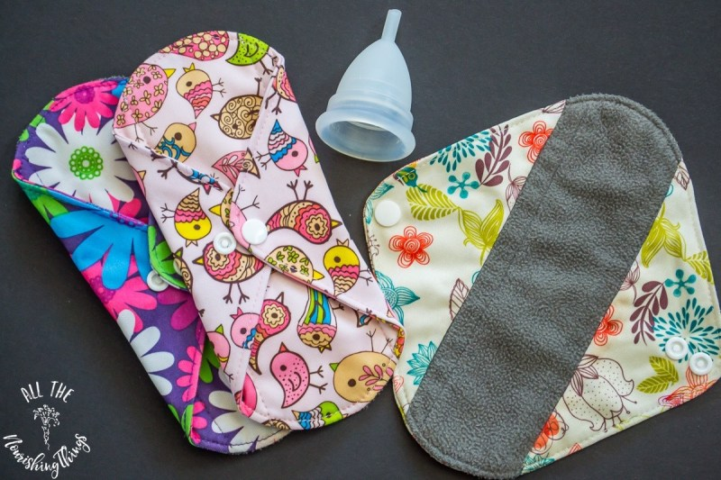 reusable cloth menstrual pads and menstrual cup