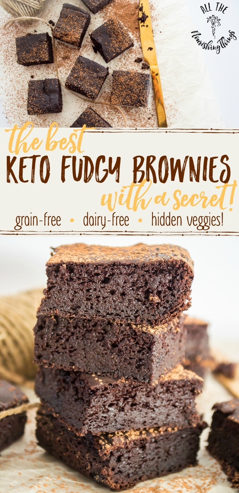 stack of best keto fudgy brownies with text overlay