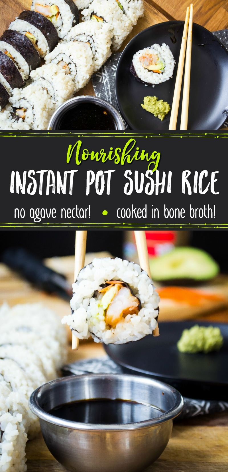 rolls of instant pot sushi rice with soy sauce and chopsticks