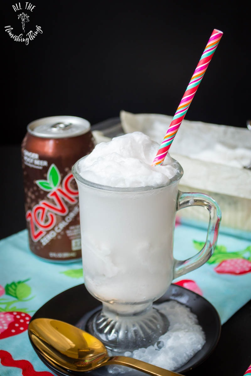 keto root beer float with pink straw